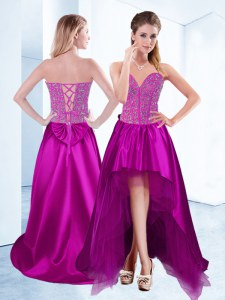Fuchsia A-line Beading Prom Dresses Lace Up Satin Sleeveless High Low