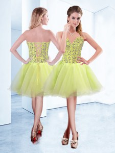High Class Knee Length Yellow Green Organza Sleeveless Beading