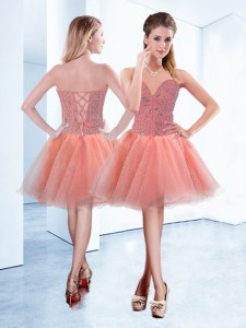 Mini Length Peach Dress for Prom Sweetheart Sleeveless Lace Up