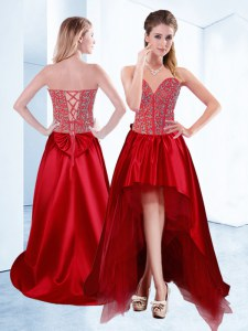 Fabulous Wine Red A-line Sweetheart Sleeveless Satin High Low Lace Up Beading Evening Dress