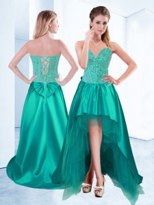 Dazzling Sweetheart Sleeveless Prom Dress High Low Beading Turquoise Taffeta