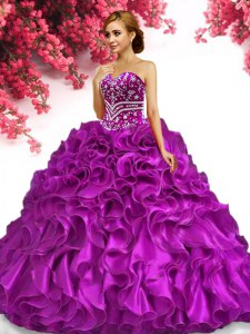 Beauteous Fuchsia Lace Up Sweetheart Beading and Ruffles Quinceanera Gown Organza Sleeveless