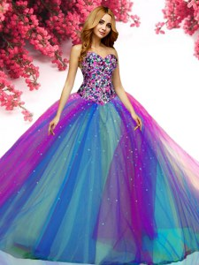 Multi-color Quinceanera Dresses Military Ball and Sweet 16 and Quinceanera and For with Beading Sweetheart Sleeveless Lace Up