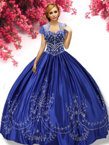 Discount Floor Length Lace Up Quinceanera Gowns Royal Blue for Military Ball and Sweet 16 and Quinceanera with Embroidery