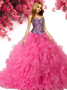 Cute Sleeveless Organza Floor Length Lace Up Sweet 16 Dress in Hot Pink with Beading and Ruffles