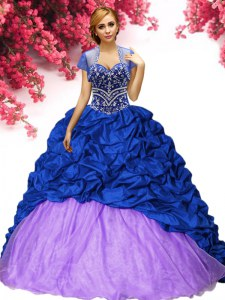 Royal Blue Ball Gowns Beading and Pick Ups Quinceanera Dress Lace Up Taffeta Sleeveless