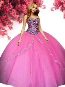 Hot Pink Ball Gowns Beading Quinceanera Dress Lace Up Tulle Sleeveless Floor Length
