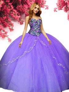 Flare Floor Length Lavender Sweet 16 Quinceanera Dress Sweetheart Sleeveless Lace Up