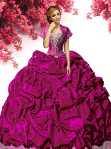 Sweetheart Sleeveless 15th Birthday Dress With Train Sweep Train Beading and Ruffles Fuchsia Taffeta
