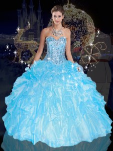 Blue Ball Gowns Beading and Ruffles Sweet 16 Dresses Lace Up Organza Sleeveless Floor Length