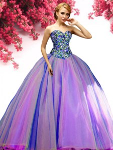 Dramatic Multi-color Sleeveless Tulle Lace Up Sweet 16 Quinceanera Dress for Military Ball and Sweet 16 and Quinceanera