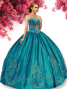 Deluxe Embroidery Sweet 16 Dresses Turquoise Lace Up Sleeveless Floor Length