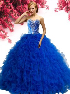 Royal Blue Sweetheart Neckline Beading and Ruffles Ball Gown Prom Dress Sleeveless Lace Up