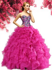 Hot Pink Ball Gowns Sweetheart Sleeveless Organza Floor Length Lace Up Beading and Ruffles Sweet 16 Dress