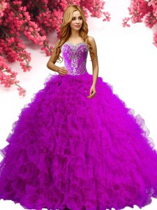 Sleeveless Floor Length Beading and Ruffles Lace Up Sweet 16 Dress with Fuchsia