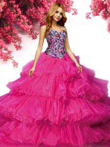 Delicate Beading and Ruffled Layers Quince Ball Gowns Fuchsia Lace Up Sleeveless Floor Length