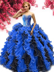 Beading and Ruffles Quinceanera Dress Blue And Black Lace Up Sleeveless