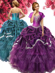 Fantastic Dark Purple Organza and Taffeta Lace Up 15th Birthday Dress Sleeveless Floor Length Beading and Ruffles and Pick Ups