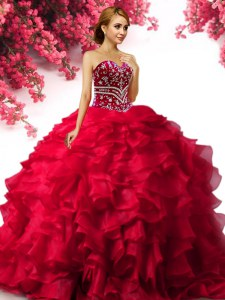 Delicate Sweetheart Sleeveless Quinceanera Gowns Floor Length Beading and Ruffles Red Organza
