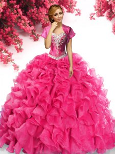 Custom Made Sleeveless Sweep Train Lace Up With Train Beading and Ruffles Quince Ball Gowns