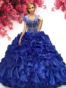 Royal Blue Lace Up Sweetheart Beading and Ruffles 15th Birthday Dress Organza Sleeveless