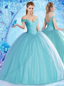 Off the Shoulder Aqua Blue Ball Gowns Beading Vestidos de Quinceanera Lace Up Tulle Sleeveless Floor Length