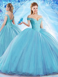 Off the Shoulder Sleeveless With Train Beading Lace Up Quinceanera Dress with Aqua Blue Brush Train