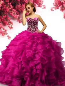 Spectacular Fuchsia Ball Gowns Beading and Ruffles Vestidos de Quinceanera Lace Up Organza Sleeveless Floor Length