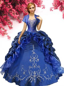 Pretty Floor Length Ball Gowns Sleeveless Royal Blue Quinceanera Gowns Lace Up