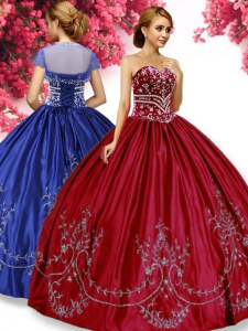 Wine Red Taffeta Lace Up Sweetheart Sleeveless Floor Length Sweet 16 Dresses Embroidery
