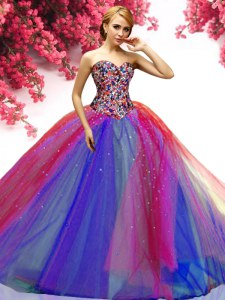 Tulle Sweetheart Sleeveless Lace Up Beading Ball Gown Prom Dress in Multi-color