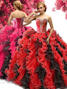 Cheap Red And Black Organza Lace Up Sweetheart Sleeveless Floor Length Sweet 16 Quinceanera Dress Beading and Ruffles