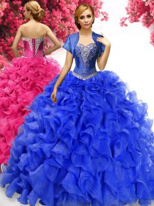 With Train Ball Gowns Sleeveless Royal Blue Sweet 16 Dresses Sweep Train Lace Up