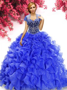Royal Blue Quince Ball Gowns Military Ball and Sweet 16 and Quinceanera and For with Beading and Ruffles Sweetheart Sleeveless Lace Up