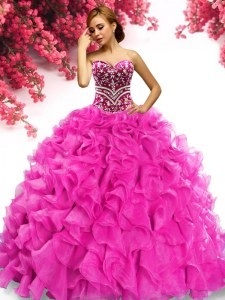 Sleeveless Sweep Train Beading and Ruffles Lace Up Sweet 16 Dress