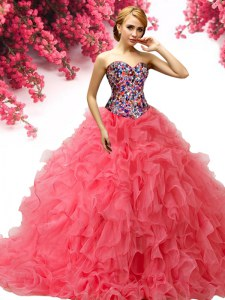 Custom Fit Coral Red Sweetheart Lace Up Beading and Ruffles Quince Ball Gowns Brush Train Sleeveless