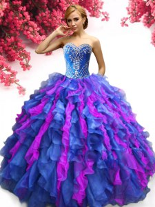 Multi-color Sleeveless Beading and Ruffles Floor Length Quinceanera Dress