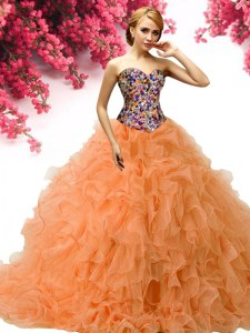 Dramatic Orange Ball Gowns Sweetheart Sleeveless Organza Floor Length Lace Up Beading and Ruffles Sweet 16 Quinceanera Dress