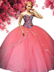 Fashion Watermelon Red Tulle Lace Up Quinceanera Dress Sleeveless Floor Length Beading