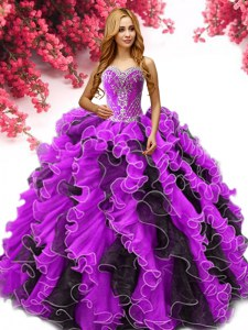 Extravagant Multi-color Organza Lace Up Sweetheart Sleeveless Floor Length Sweet 16 Dresses Beading and Ruffles