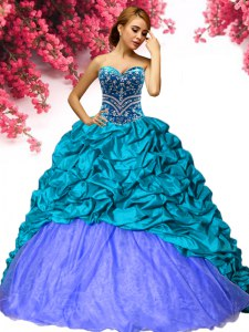 Fashion Sleeveless Beading and Pick Ups Lace Up Quinceanera Dress with Teal Brush Train