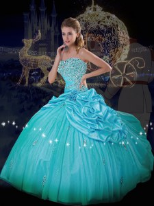 Discount Blue Strapless Lace Up Beading and Pick Ups Quince Ball Gowns Sleeveless