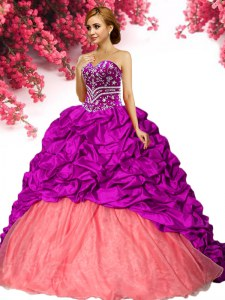 Sleeveless Beading and Pick Ups Lace Up Sweet 16 Quinceanera Dress with Fuchsia Brush Train