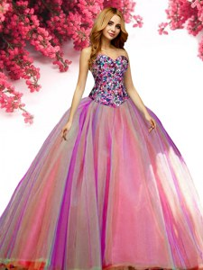 Simple Multi-color Ball Gowns Tulle Sweetheart Sleeveless Beading Floor Length Lace Up 15 Quinceanera Dress