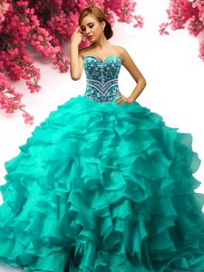 Pretty Turquoise Ball Gowns Sweetheart Sleeveless Organza Floor Length Lace Up Beading and Ruffles Sweet 16 Dresses