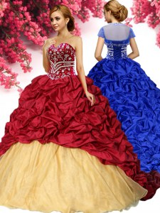Exceptional Pick Ups Brush Train Ball Gowns Vestidos de Quinceanera Wine Red Sweetheart Taffeta Sleeveless With Train Lace Up