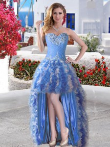 Organza Sweetheart Sleeveless Lace Up Appliques and Ruffles Prom Gown in Blue