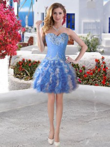 Stunning Sweetheart Sleeveless Lace Up Homecoming Dress Blue Organza