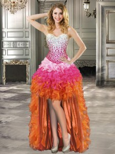 Dynamic Multi-color Sleeveless High Low Beading and Ruffles Lace Up Prom Party Dress