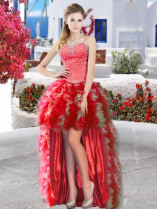 Flirting Red Ball Gowns Beading and Ruffles Dress for Prom Lace Up Organza Sleeveless High Low